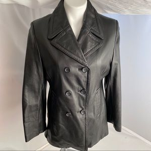 Wilson double breasted, black, leather jacket M